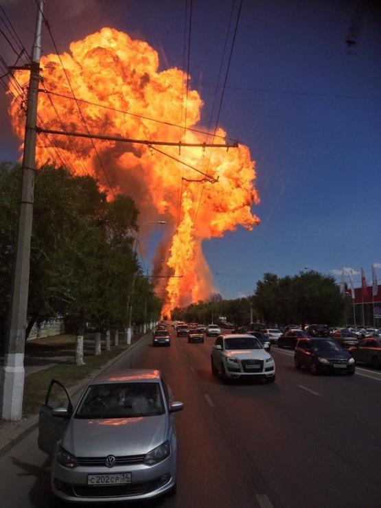 Gas station explosion in my city yesterday, Volgograd Russia