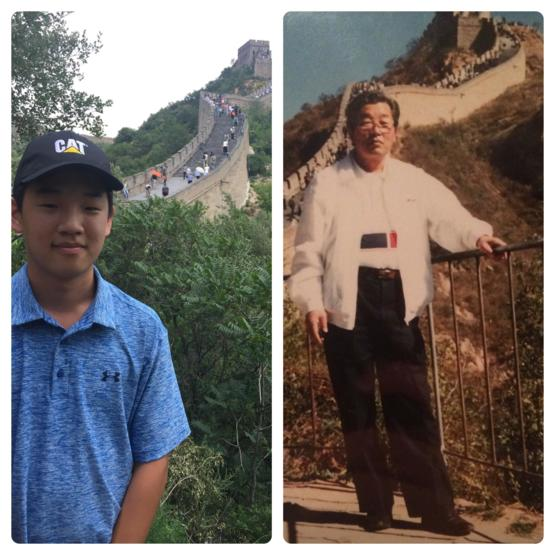 Picture of me and my grandfather 40 years apart on the Great Wall of China