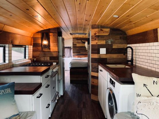 A finished photo of one our bus conversions. Starting a tiny home company in January.