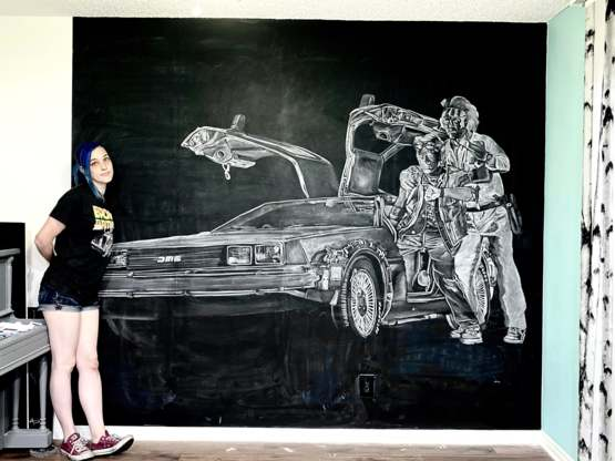 Back to the Future chalk drawing!