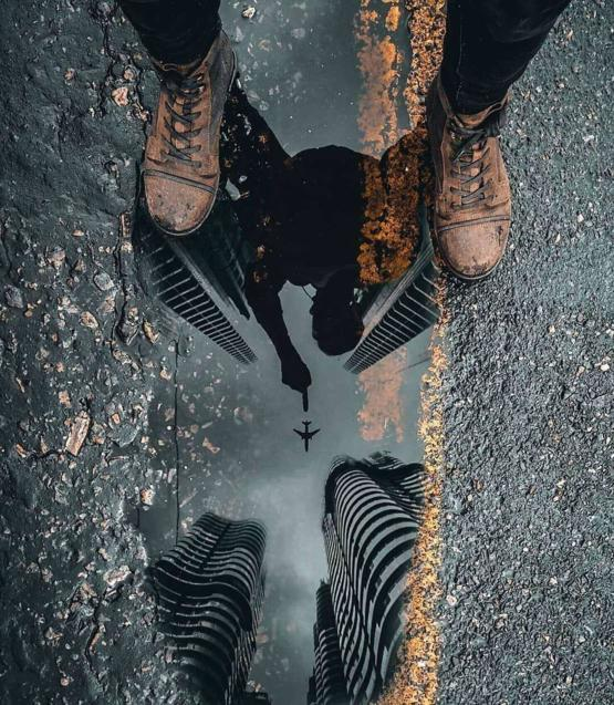 Reflection on a puddle