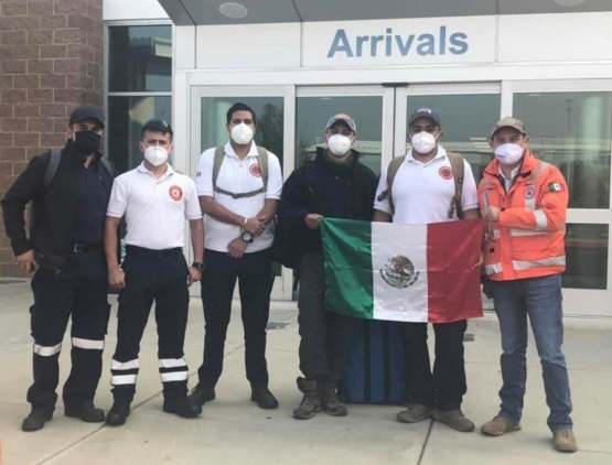 An actual photo of Mexican firefighters arriving in Medford, Oregon to fight the wildfires