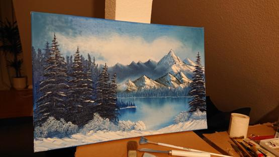 Corona made me try painting: My first take on a Bob Ross