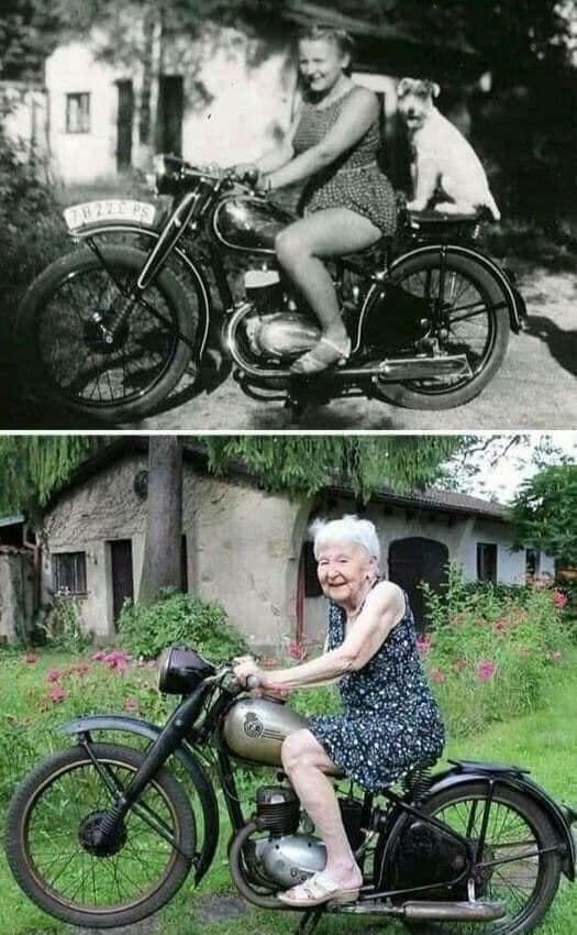 The same bike .. the same place .. the same girl, but with a difference of 71 years,