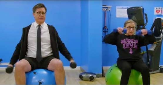 Stephen Colbert working out with Ruth Bader Ginsburg