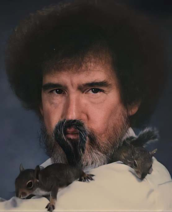 Bob Ross and his pet squirrels (1991)