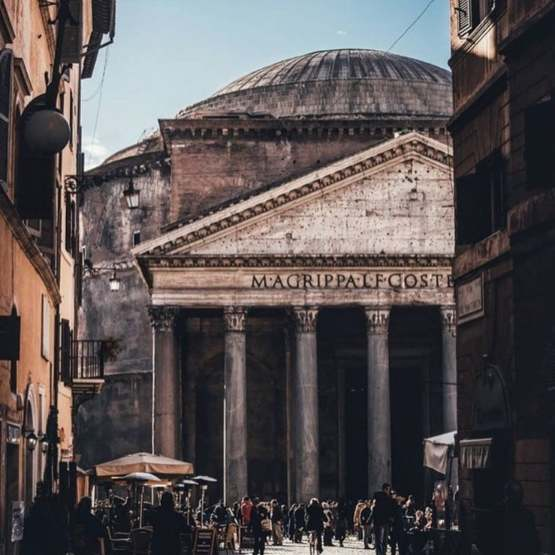 The Roman Pantheon, built in 125 AD. Still the world's largest unreinforced concrete dome.