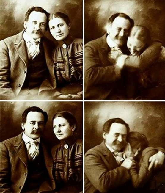 A Victorian couple trying not to laugh while getting their portraits done, 1890
