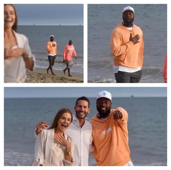 Dwayne Wade accidentally photobombing a proposal.
