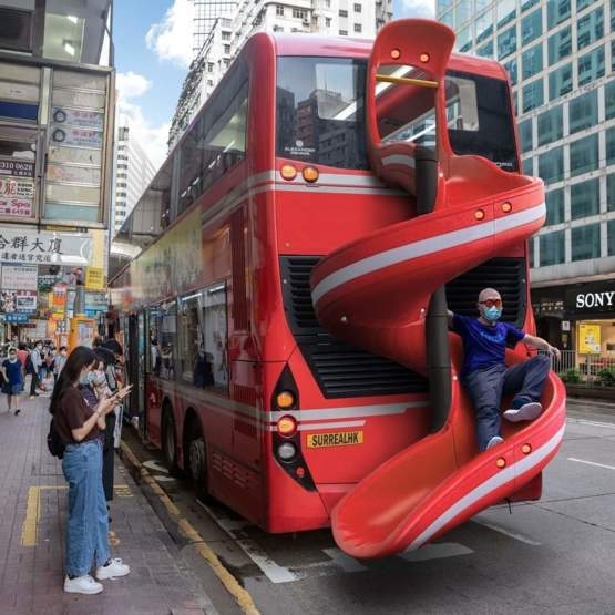 Getting off the bus has never been so much fun! New Bus in Hongkong.