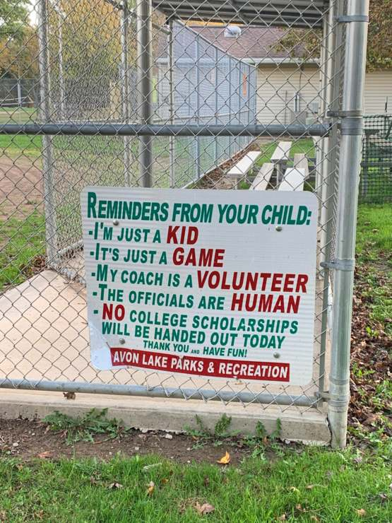 Some nice reminders for parents on a little league dugout
