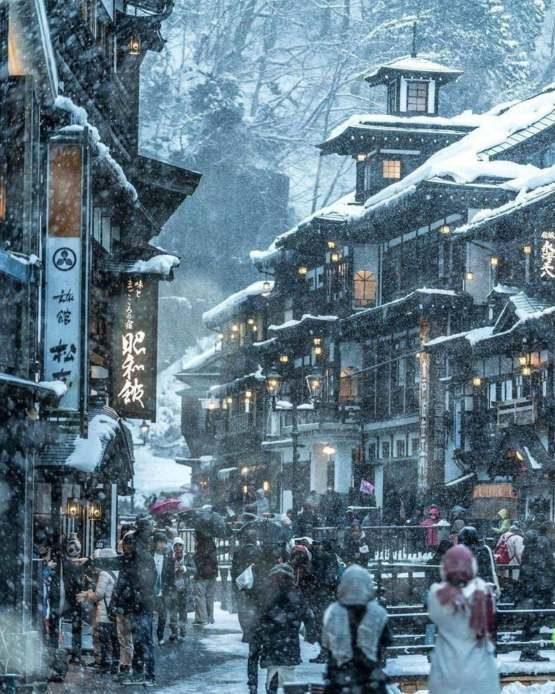 Ginzen Onsen, a secluded hot spring town nestled in a former silver-mine mountain of Yamagata