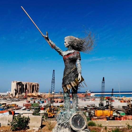 Statue made from twisted metal and debris from the Beirut explosion in August (artist Hayat Nazer)