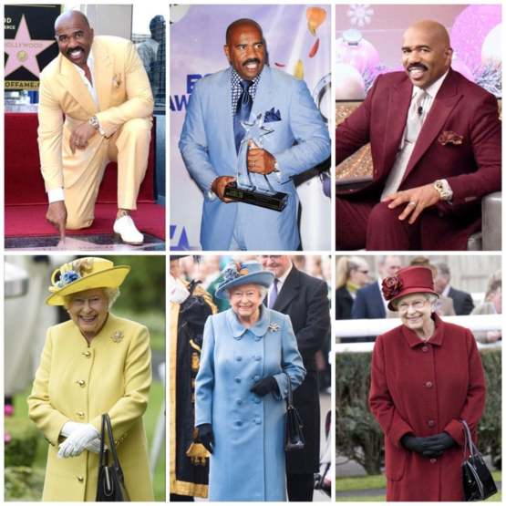 Queen Elizabeth and Steve Harvey always dress like they're going to the prom together