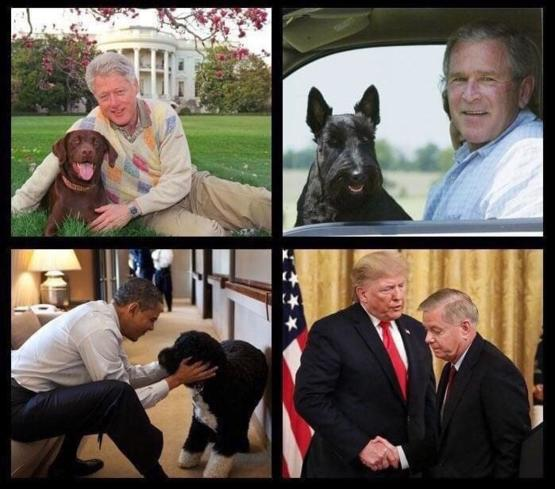 A photo of the presidents and their dog.