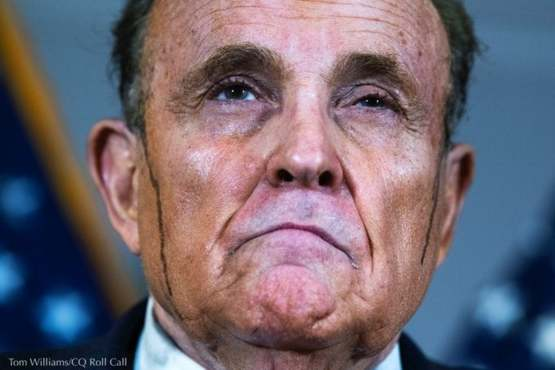 Rudy Giuliani's hair die dripping at a press conference, Nov. 19, 2020