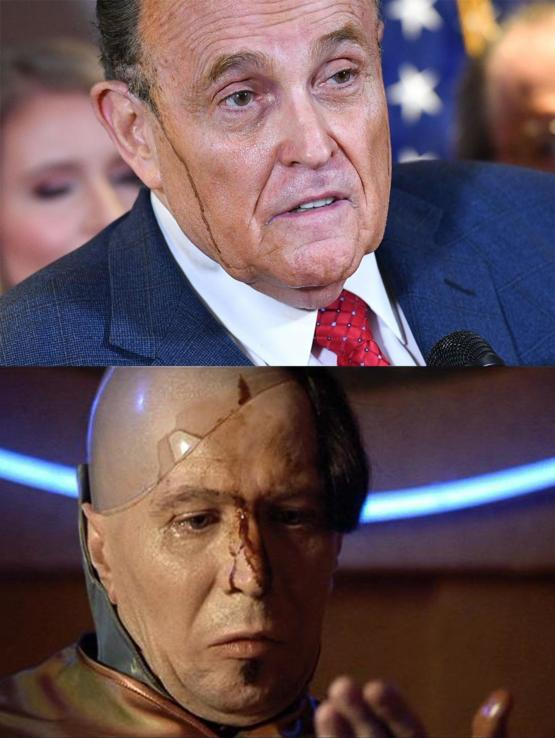 Rudy oozing today like Zorg from Fifth Element