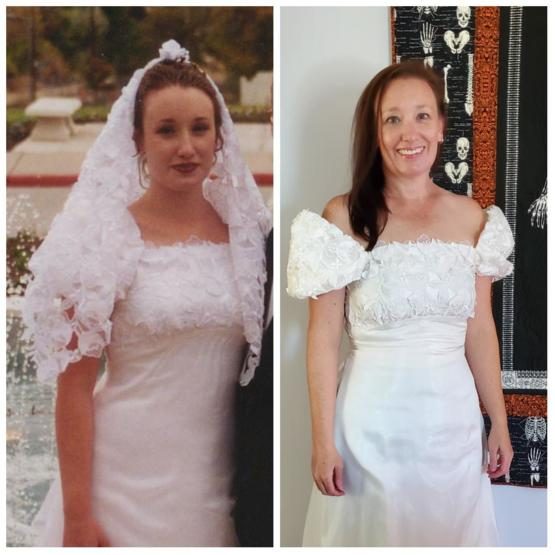 Same dress, same person (me), 25 years apart.
