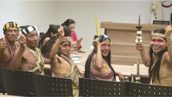 An Amazon tribe after winning a lawsuit against big oil