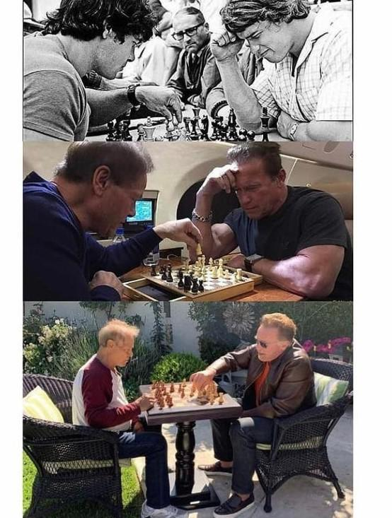 Franco Columbo Arnold Schwarzenegger best friend play chess over the years since 1970s till now