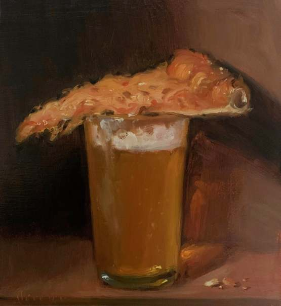 My Beer & Pizza oil painting