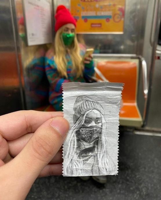 Drawing a random person on a gum wrapper by devonrodriguezart