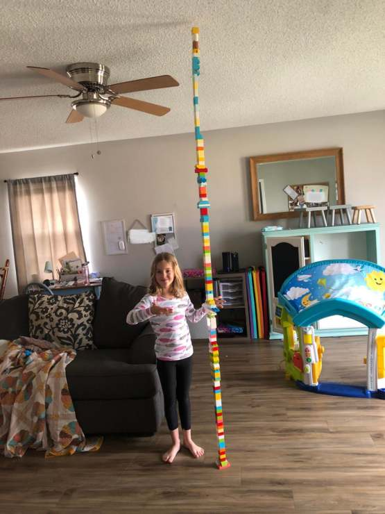 My daughter and I discovered there are just enough blocks in her new Lego set to reach the ceiling