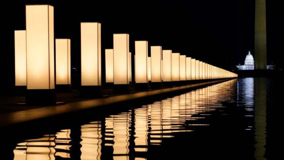 Lights surrounding the Lincoln Memorial Reflecting Pool, placed as a memorial to COVID-19 victims