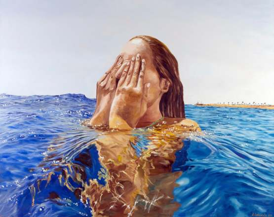 Out of the water. Me, oil on canvas, 100x80 cm. 2020