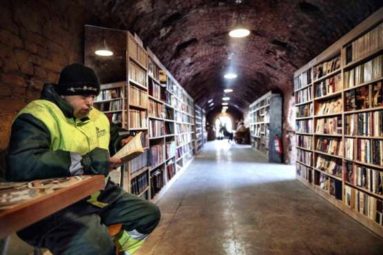 Garbage collectors in Ankara, Turkey open a library with books rescued from the trash