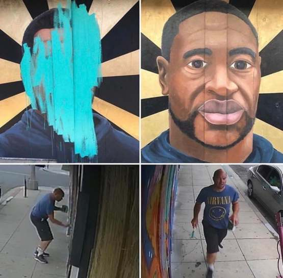 This guy defaced a George Floyd mural in Long Beach, CA.