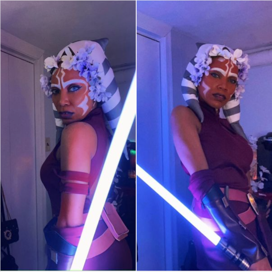 For my friends' Spring-themed Zoom Dance Party tonite, I decided to attempt a Cosplay of Ahsoka Tano