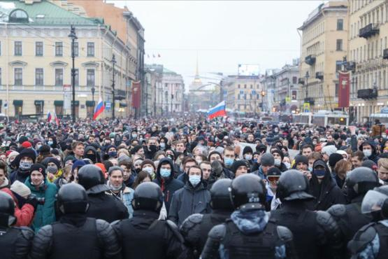 The people of Russia protest against the wrongful arrest of Alexei Navalny