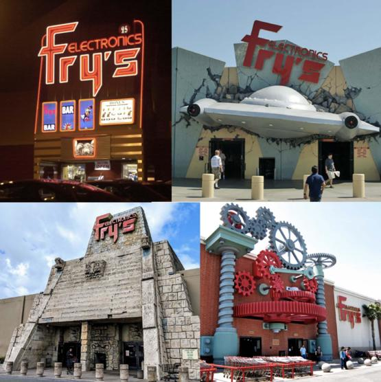 Various Fry's locations were decorated in elaborate themes