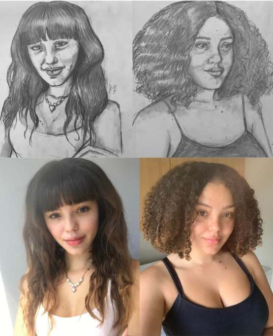 I drew myself as a 16 year old and as my current 20 years old