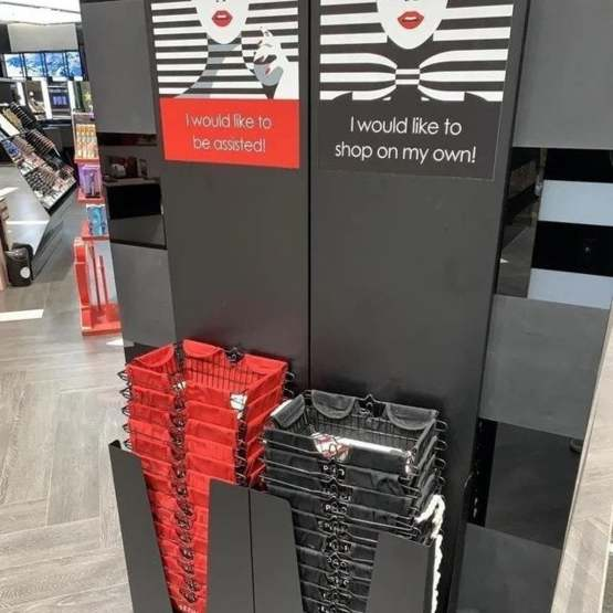 Introverts rise up - colour coded baskets in European Sephora store