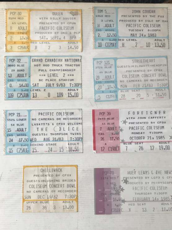 My concert stubs from the early 80's when I was a teenager.