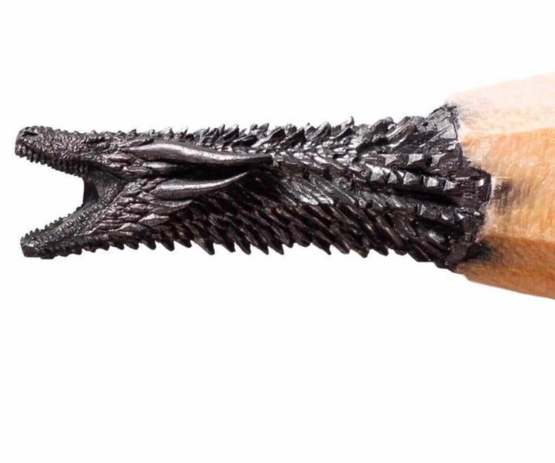 Dragon carved into the graphite of a pencil