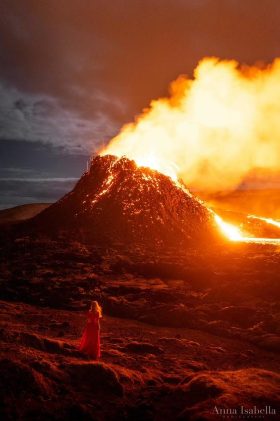Self-portrait with the current eruption in Iceland