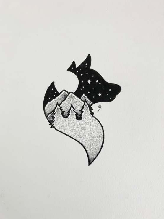 My drawing of a wolf design