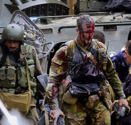 Wounded Spetsnaz Officer during the Beslan School Siege, 2004