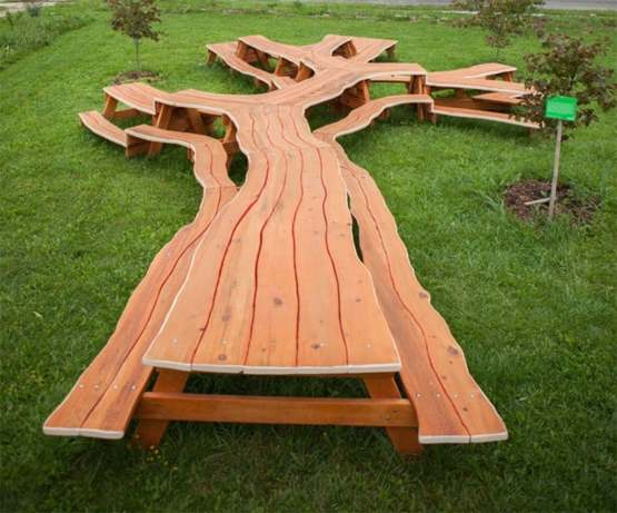 Picnic Table, carved from an entire tree