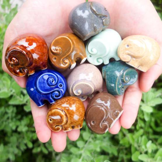 A handful of miniature ceramic elephants I have been working recently