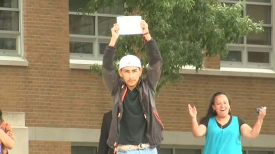 After being rejected by his school for wearing his Mexican flag, HS senior finally gets his diploma.