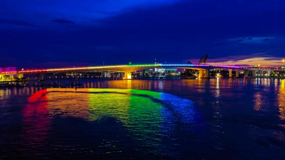 I live in Jacksonville, FL. The city lit up the Acosta bridge for Pride Month. It's beautiful.