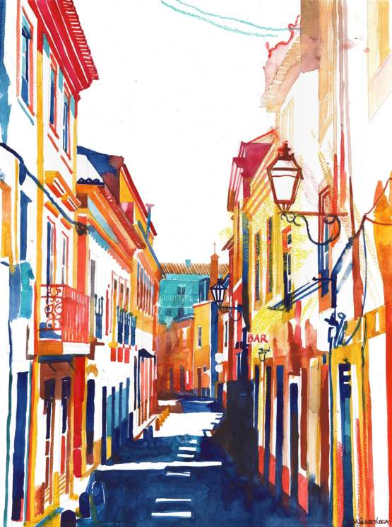 watercolor of Torres Vedras that I painted