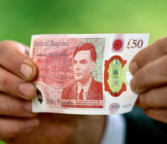 The Alan Turing £50 note issued today on his birthday, a gay man key to the development of computing