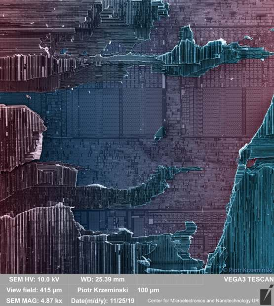 Best picture in my career- torn apart Intel D320 CPU using electron microscope. ZOOM IN TO SEE MORE