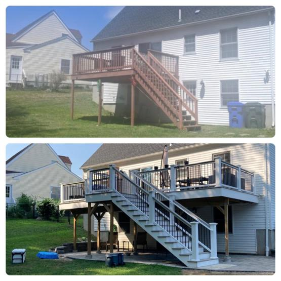 New deck and patio vs when we bought the house!