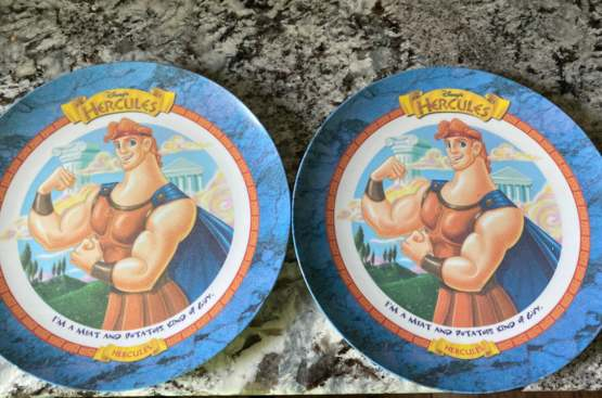 My mom found our 25 year old Disney Hercules plates from McDonald's